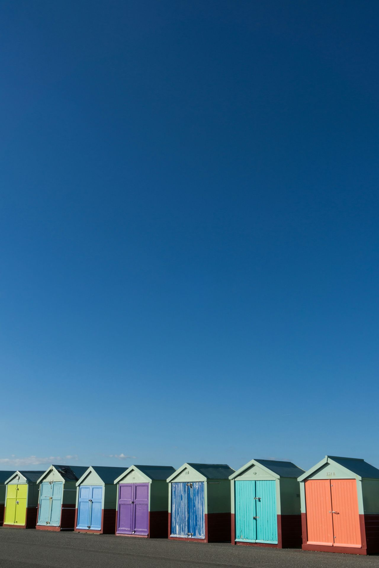 Beach huts two Beach Huts Seaside Blue Sky Colours Hut Beach