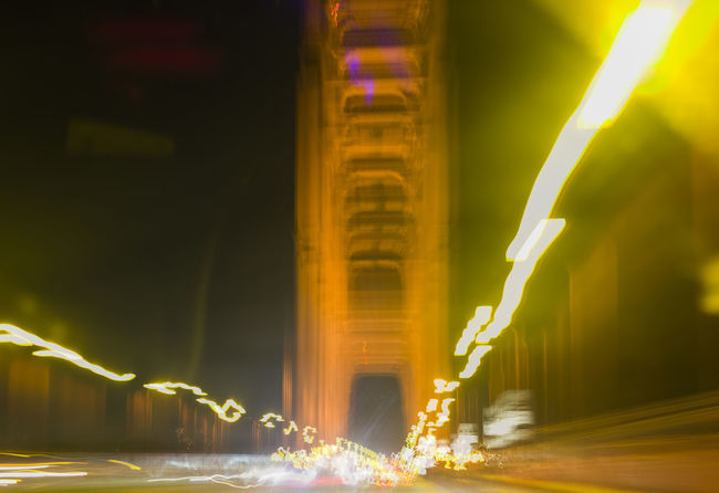 Abstract image of San Fransisco Golden Gate Bridge at night. Abstract Golden Gate Bridge Horizontal Illuminated Motion Blur Night Night Lights No People Outdoors