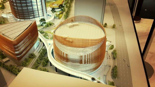 Miniature Pertamina Energi Tower Building Arsitektur Taking Photos Design