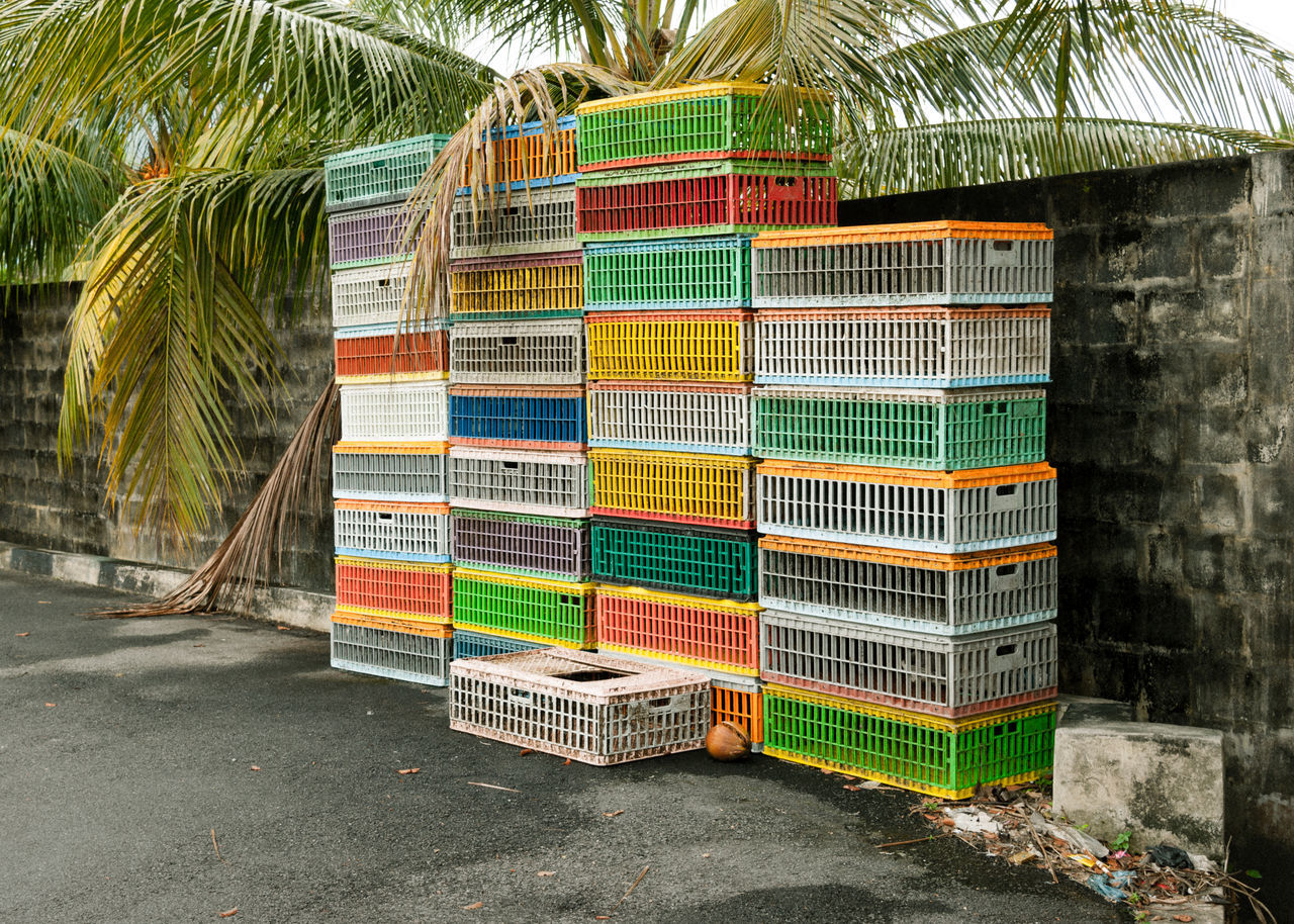 2014 (Malaysia) Abandoned Places ASIA Boxes Colorful Day Emty Multi Colored No People Outdoors Palm Trees