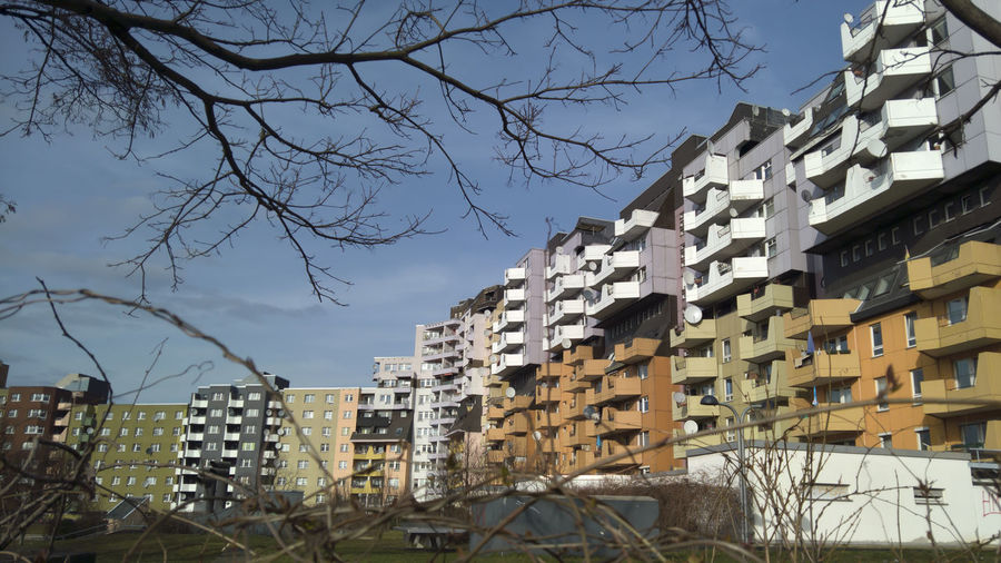 Apartment blocks in Berlin Kreuzberg Architecture Bare Tree Building Exterior Built Structure City Day House No People Outdoors Residential Building Sky Tree First Eyeem Photo Strassenfilm