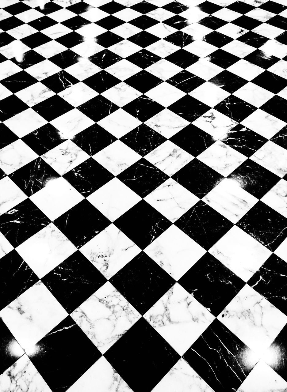 full frame, checked pattern, backgrounds, indoors, pattern, black color, no people, close-up, chess board, day