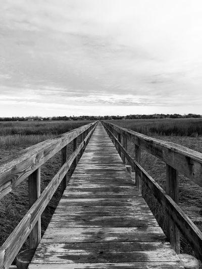 The Way Forward Diminishing Perspective Tranquil Scene Tranquility No People Sky Cloud - Sky Scenics Nature Outdoors Wood - Material Wood Paneling Beauty In Nature Day Landscape Footbridge