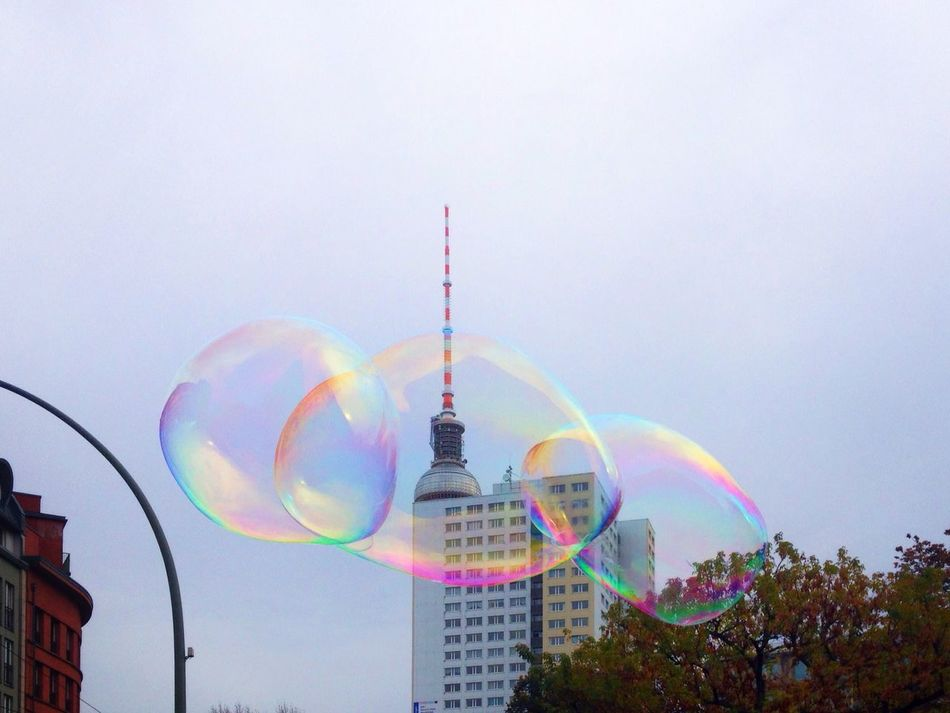 Rainbow Multi Colored Building Exterior Built Structure Sky Low Angle View Outdoors Architecture Double Rainbow Day Real People Nature People Bubbles Soap Soap Bubbles Tvtower Tvtowerberlin