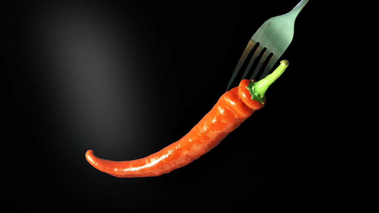 RED CHILLI AND FORK WITH SMOKE ON DARK BACKGROUND, LOW LIGHT CONCEPT Art Photography Black Background Close-up Dark Background Digital Art Fork Freshness Hot No People Red Cili Smoke Studio Shot
