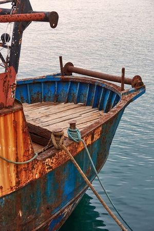 Grand Harbour, Malta Rope Deck Hull Abandoned Rusty Rust Textures And Surfaces Weathered Detail Mode Of Transport No People Transportation Nautical Vessel Boat Ship Sea Water Harbor Grand Harbour Malta Wood - Material Blue Decay Hawser Anchored