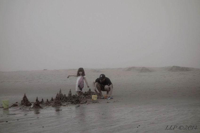 Life Is A Beach Beach Beachphotography Fog People Julia On The Beach Building A Sand Castle