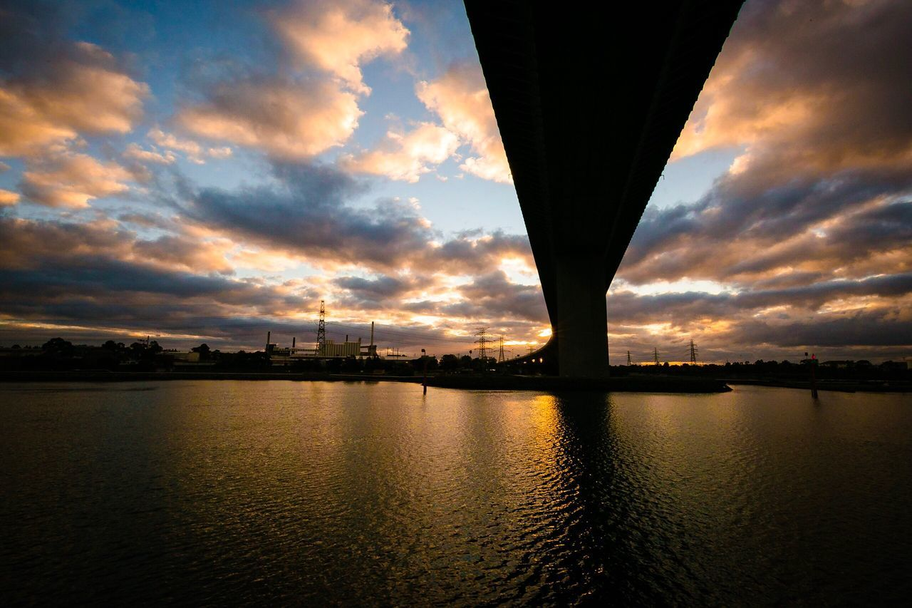 Power In Nature River Sky Sunset Cloud - Sky Water Built Structure Bridge - Man Made Structure Outdoors Cityscape Victoria West Gate Bridge