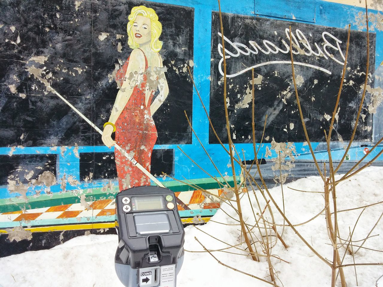 St. Johns  NL Downtown Blond Pool Red Dress Art Snow Parking Meter Retro Close-up Outdoors Urban Photography Mobilephotography All Around Us Painting On The Walls