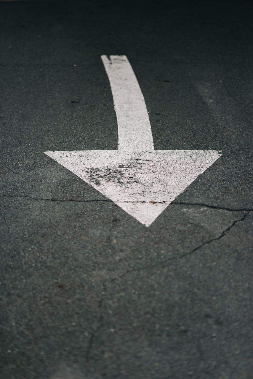 arrow symbol, guidance, road, asphalt, direction, no people, communication, arrow, day, outdoors, close-up