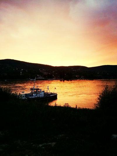 Sunset Ship River Dock