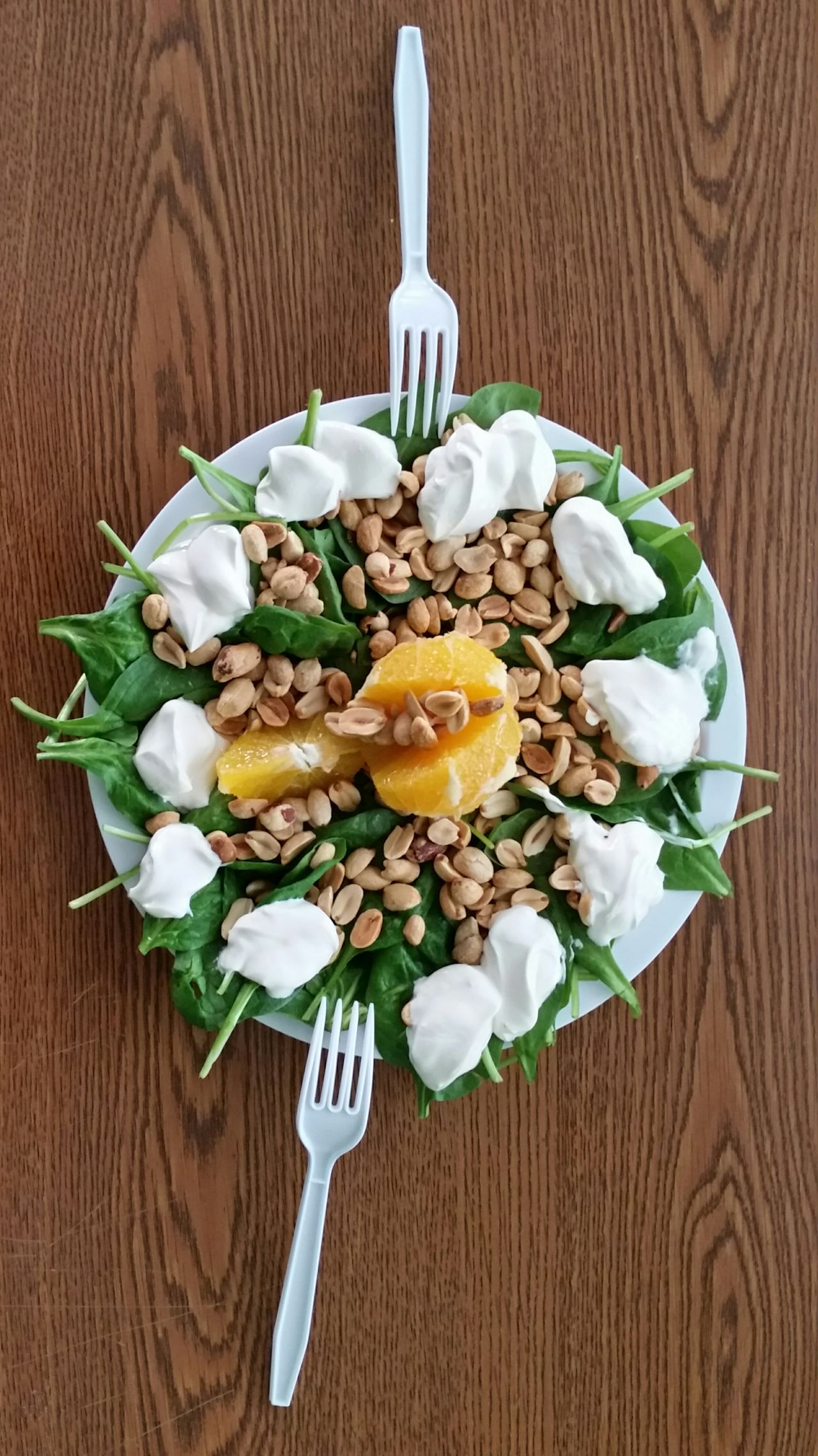 ShareTheMeal Vertical Wood - Material Freshness Food No People Close-up Indoors  Thank You My Friends 😊 Spinachsalad Spinachmy My Favorite Breakfast Moment Spinach Orange Juice Limon Peanuts Cream Having Fun Healthy Eating