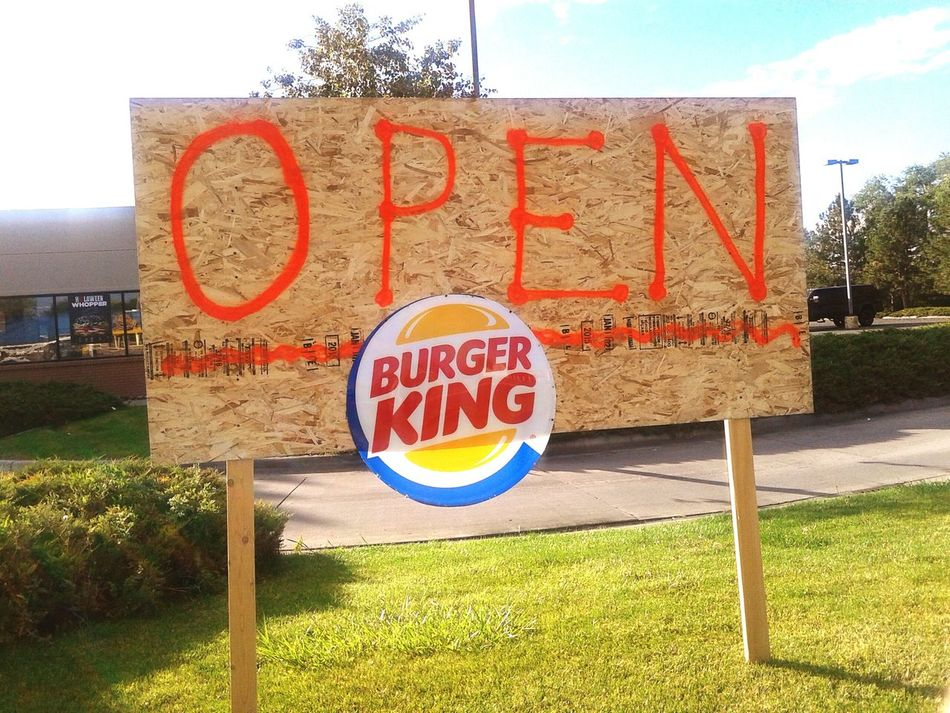 I feel Like I'm Living At The Culdesac from Ed Ed And Eddy when I look at this Ed Ed And Eddy Burgerking Ghetto Don't Walk Here At Night Fastfood Fast Food Restaurant Sketchy Is It Real? Seems Legit Spray Paint Spraypaint Cool Funny Unprofessional Plywood Sign Plywood