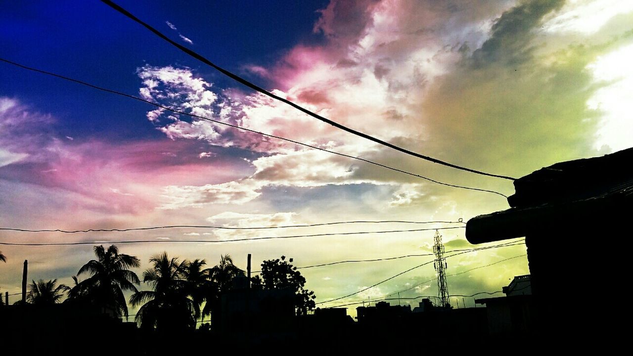 sky, cable, cloud - sky, silhouette, low angle view, sunset, power line, tree, no people, nature, outdoors, power supply, beauty in nature, electricity pylon, scenics, telephone line, day, vapor trail
