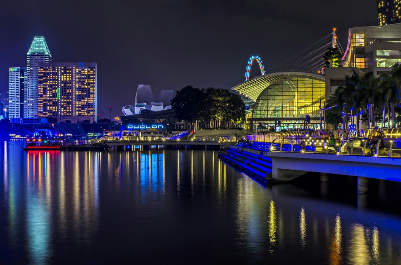 Night Light Reflection City Nightphotography Landscape Singapore Night Lights Waterscape Nikon Awesome Architecture Marina Nikon D7000 Nightcall Architecture