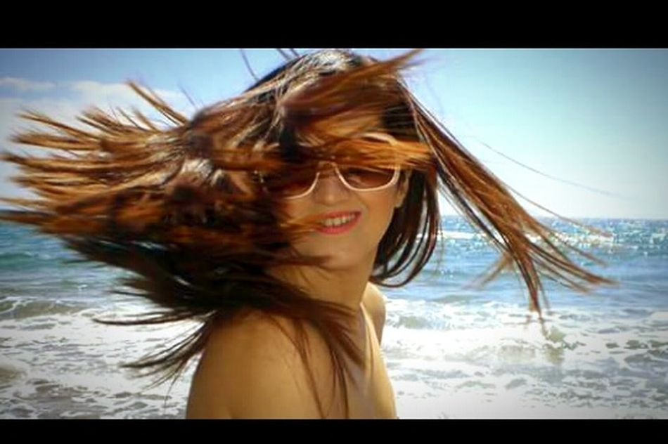 Hairplay Cheese! That's Me Blue Sea Sky And Sea Hotday Enjoying Life Aegean Sea Limnos Beachphotography Bestfeelingintheworld  Beachfront Smile Is The Best Way To Live