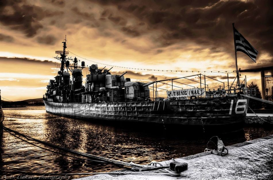 Old battle ship pseudo HDR surreal Cloud - Sky Nautical Vessel Water Outdoors Sky No People HDR Surreal Pseudo Battleship
