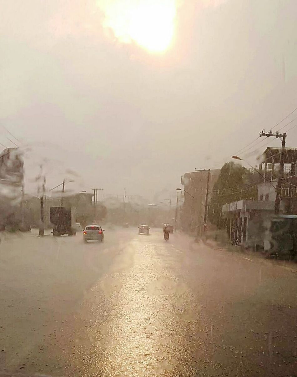 Sun and rain Natural Disaster Weather Accidents And Disasters City Flood Rain Extreme Weather Built Structure Environment Wet Building Exterior Social Issues Fog Architecture Water Outdoors Tree Sky No People Day