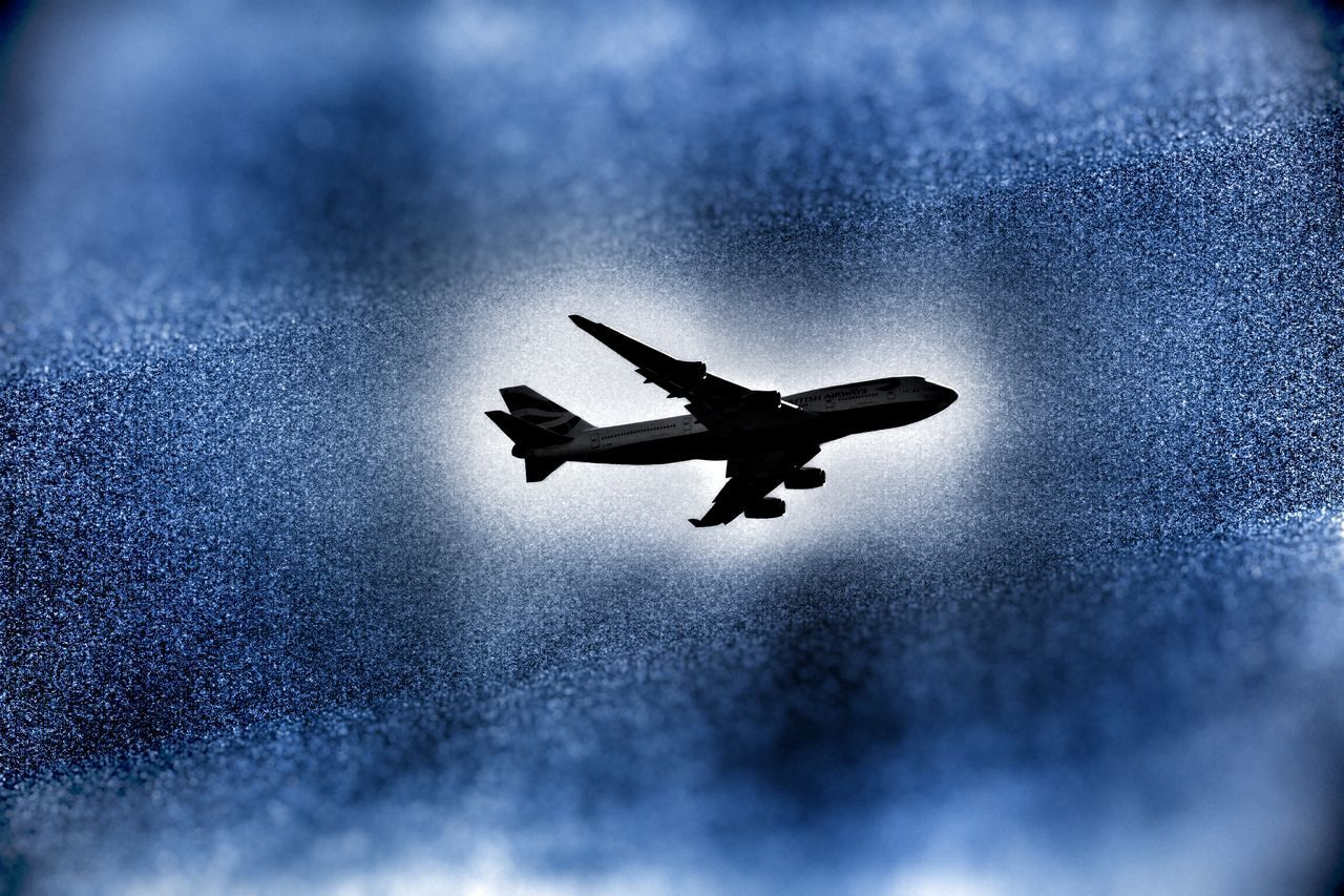 flying, silhouette, low angle view, day, airplane, no people, full length, outdoors, nature, sky, animal themes