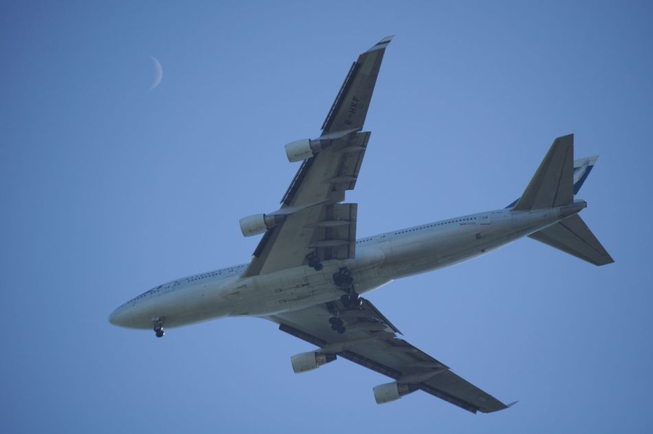 Airplane Plane Public Transportation Mode Of Transport Air Vehicle Flying Sky Day Passenger Plane Moon On The Blue Sky Moon On The Clear Sky