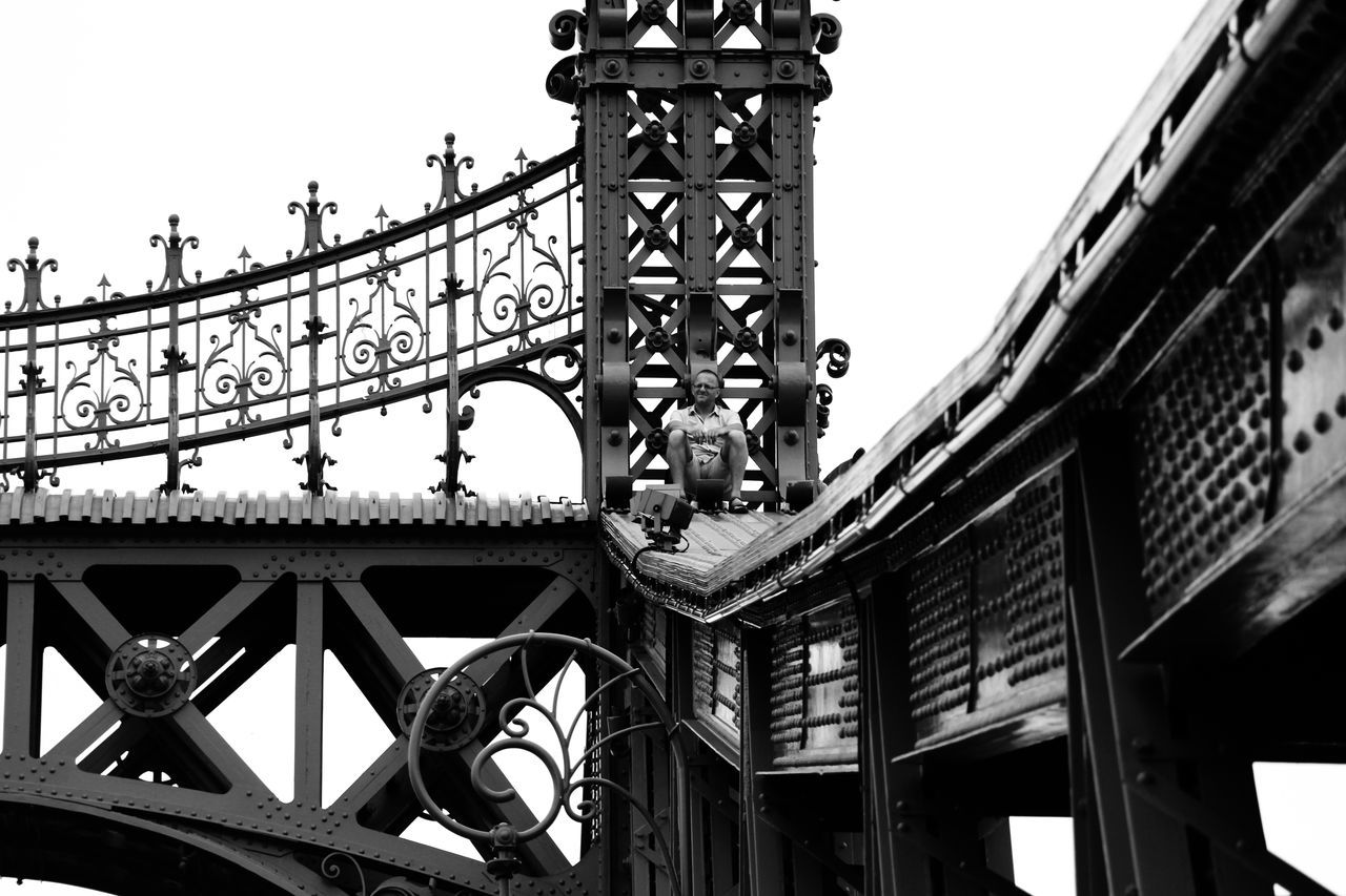 """""""All the way up"""" Amusement Park Architecture Blackandwhite Bridge Building Exterior Built Structure Bw Clear Sky Day Low Angle View Minimalism No People Outdoors People Sky"""