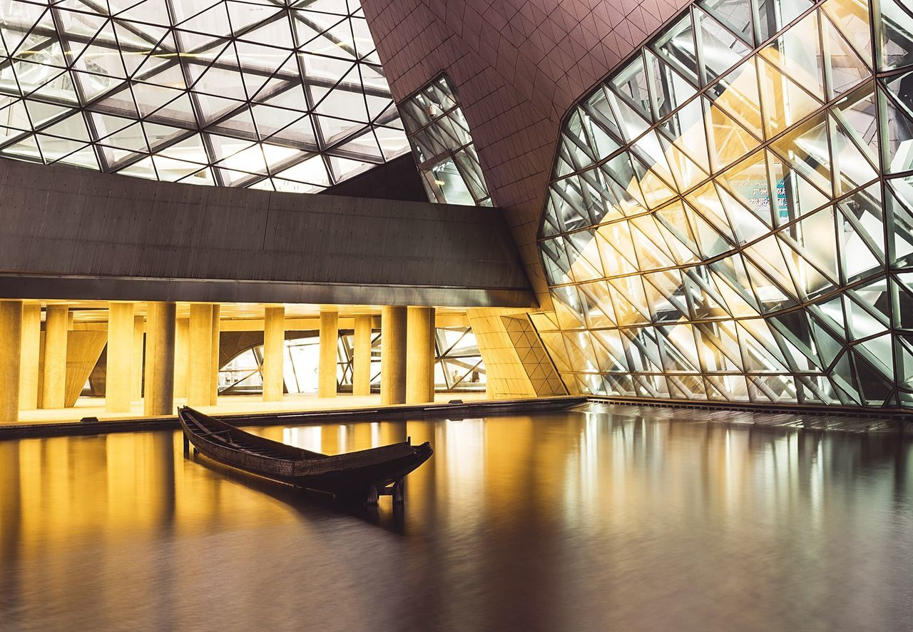 architecture, reflection, built structure, indoors, connection, transportation, no people, day