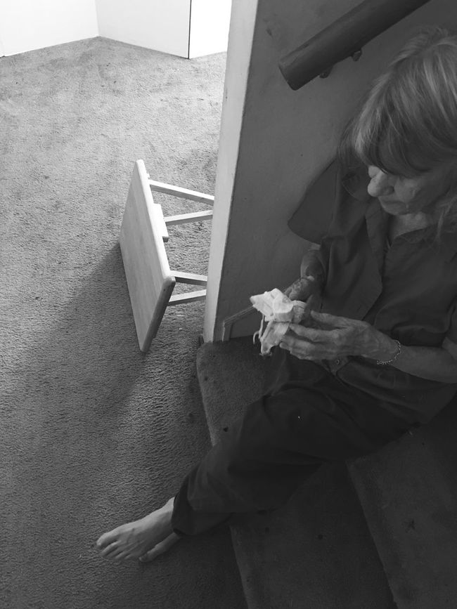 Everything is Blackandwhite for someone with Alzheimers AlzheimersAwareness Stairs Banana