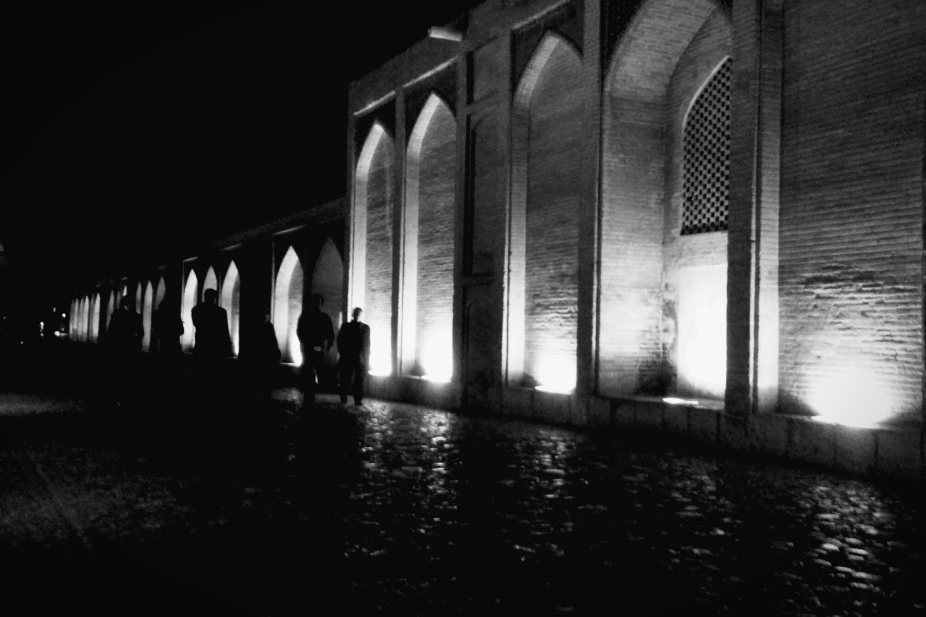 Khajoo Bridge And The Dark Nights , So Here We go ... Architecture City History People Night Lifestory City Life Should Be Here Endless Beauty Real People Free Old Bridge Eyes Blackandwhite Black And White Black&white Black & White MJ028 Esfahan Isfahan