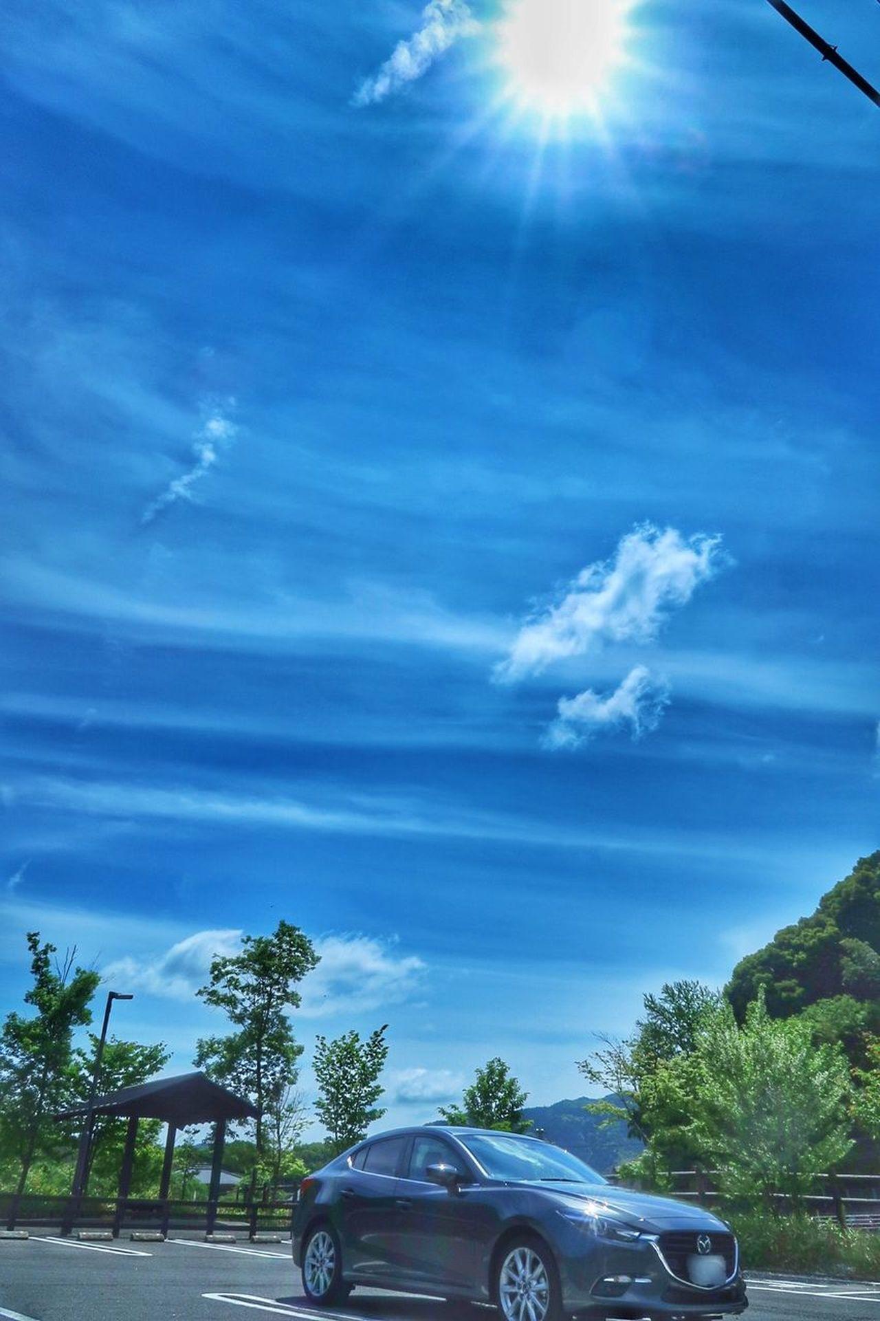 車 青空 いま空 雲 山 森 空 マツダ アクセラ Car Sky Cloud - Sky Tree Sun 太陽 Blue Sunlight Nature Mazda MaZda3 EyeEm Nature Lover EyeEm Best Shots Beauty In Nature Blue Sky 写真好きな人と繋がりたい