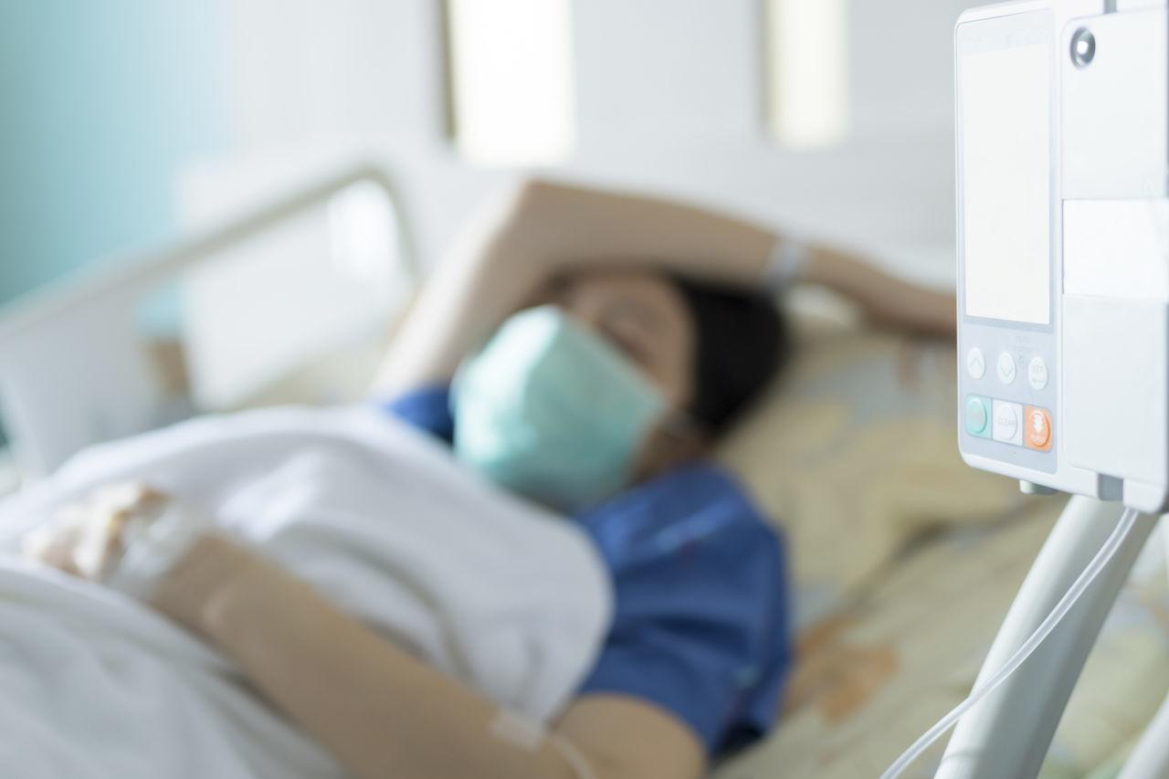 Adult Bed Bedroom Healthcare And Medicine Hospital Hospital Ward Illness Macro Mask One Person Patient People Sad Stress Weak Women