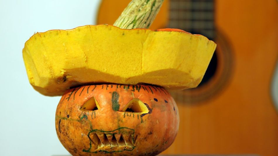 Anthropomorphic Face Classical Guitar Close-up Day Food Food And Drink Freshness Fruit Halloween Healthy Eating Indoors  No People Pumpkin