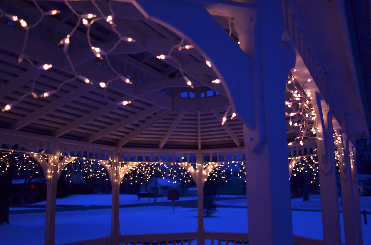illuminated, night, lighting equipment, christmas decoration, christmas lights, large group of people, christmas, crowd, blue, outdoors, architecture, ice rink