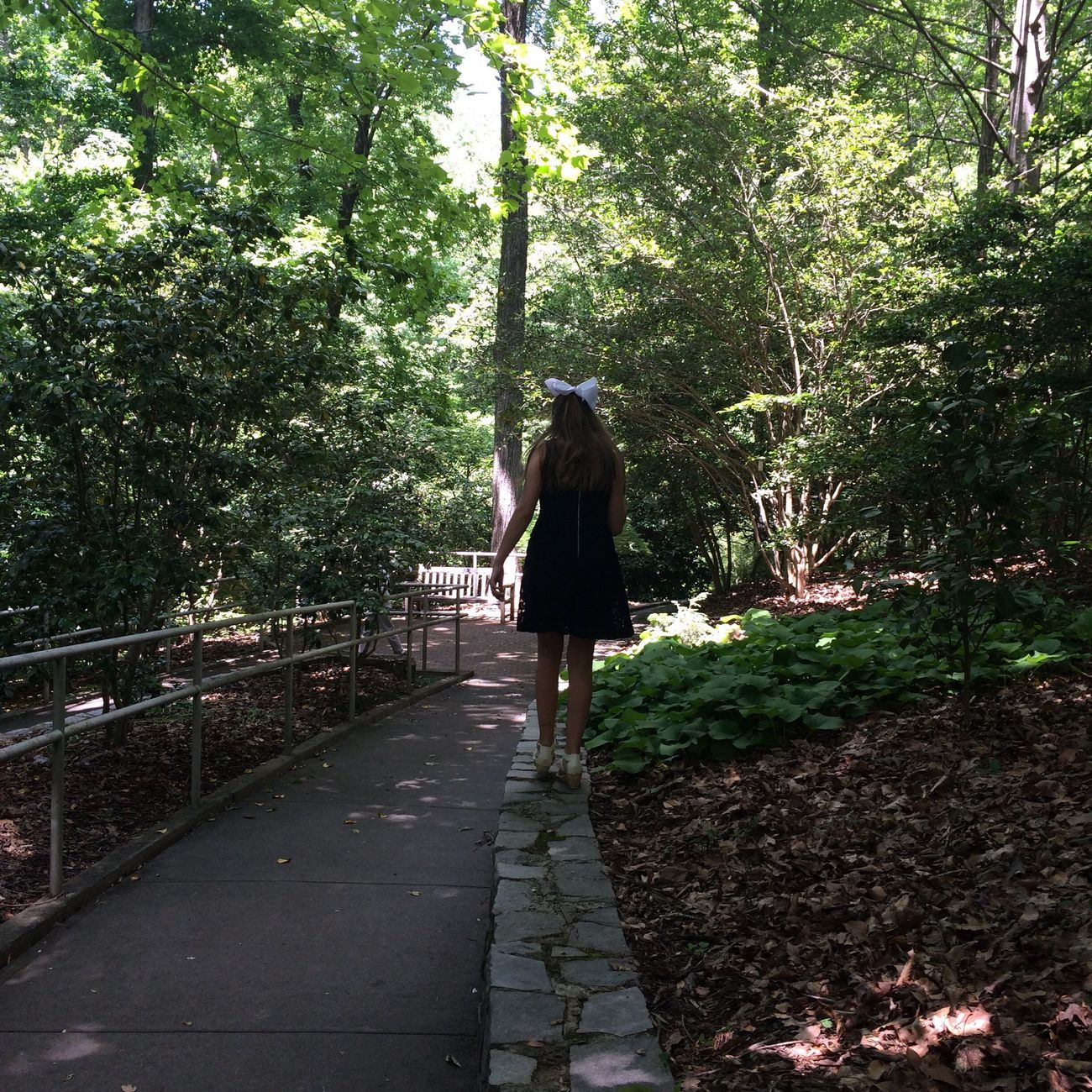 Path Girl Walk Tree Garden Real People Long Hair Leisure Activity Lifestyles Nature Full Length Growth