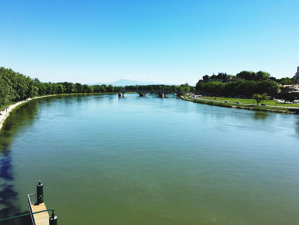 Water Clear Sky Blue Nature Tree Beauty In Nature Tranquil Scene Outdoors Scenics Tranquility Day No People Nautical Vessel Sky France Avignon Bridge River Blue Sky Eyemphotography View
