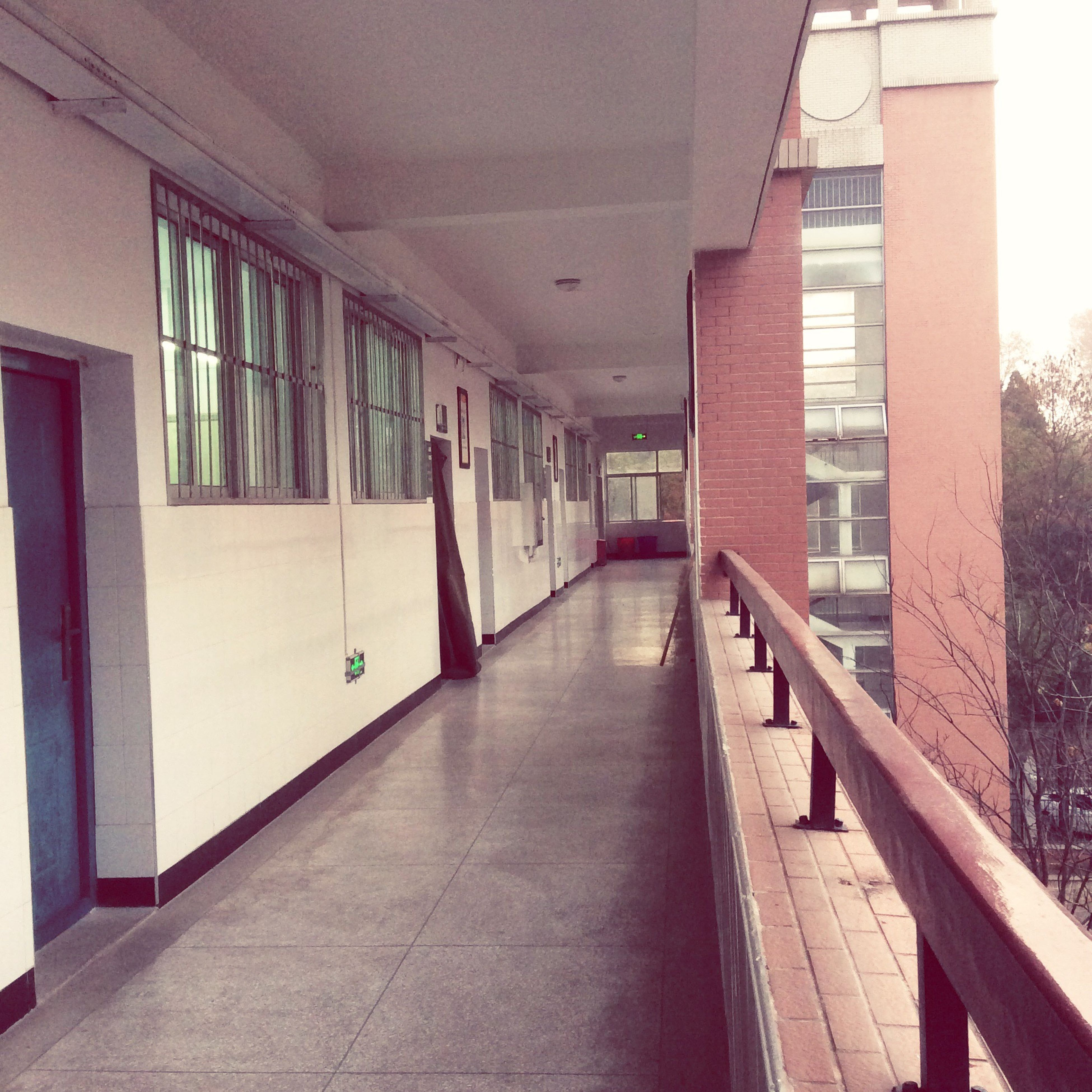 architecture, built structure, indoors, the way forward, empty, window, narrow, absence, building, railing, building exterior, corridor, door, house, ceiling, no people, diminishing perspective, sunlight, day, steps