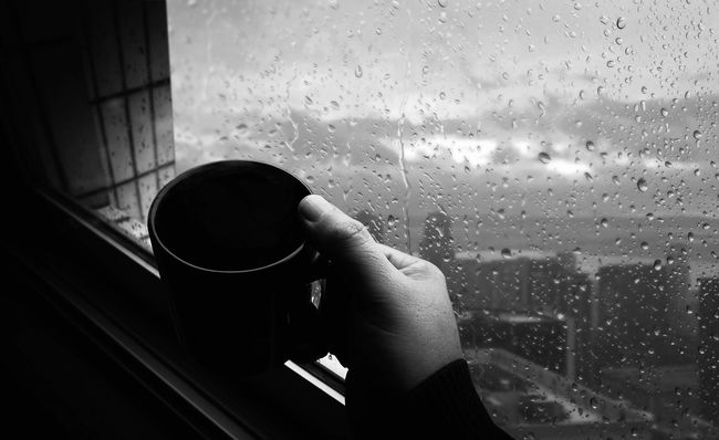 Black & White Rain Relaxing Blackandwhite Cafe Time