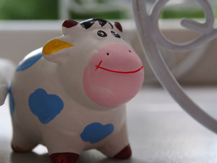 Close-up Cute Cow Day Focus On Foreground Indoors  No People Seramic Anim Seramic Doll Smile Animal Face
