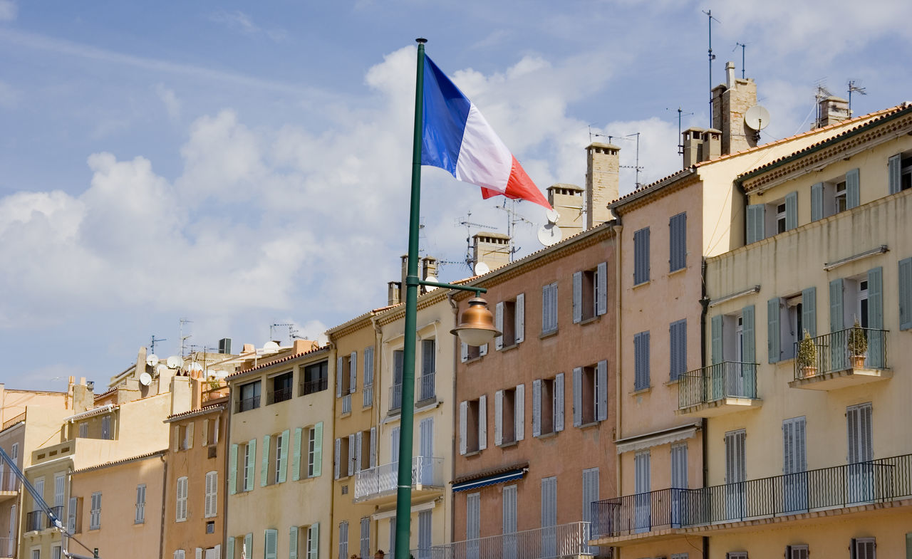 terraced houses in saint-tropez - french riviera, mediterranean sea Architecture Building Building Exterior Cityscape Côte D'Azur Flag France French Flag House Low Angle View Mediterranean  Patriotism Provence Residential Building Residential Structure Rowhouses Saint Tropez Saint-Tropez Terraced Houses Town Townhouse TOWNSCAPE Travel Destinations Village Vintage