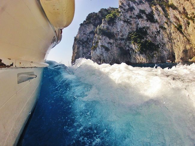 Coast of Capri, Italy Nature Sea Power In Nature Outdoors Wave Beauty In Nature Splashing Sky No Filter, No Edit, Just Photography Water Droplets Italia Waterdrops Water Transportation Boats Italy❤️ Italy🇮🇹 Italy Capri Vacation Vacations Fun Goprohero4 Gopro GoPrography