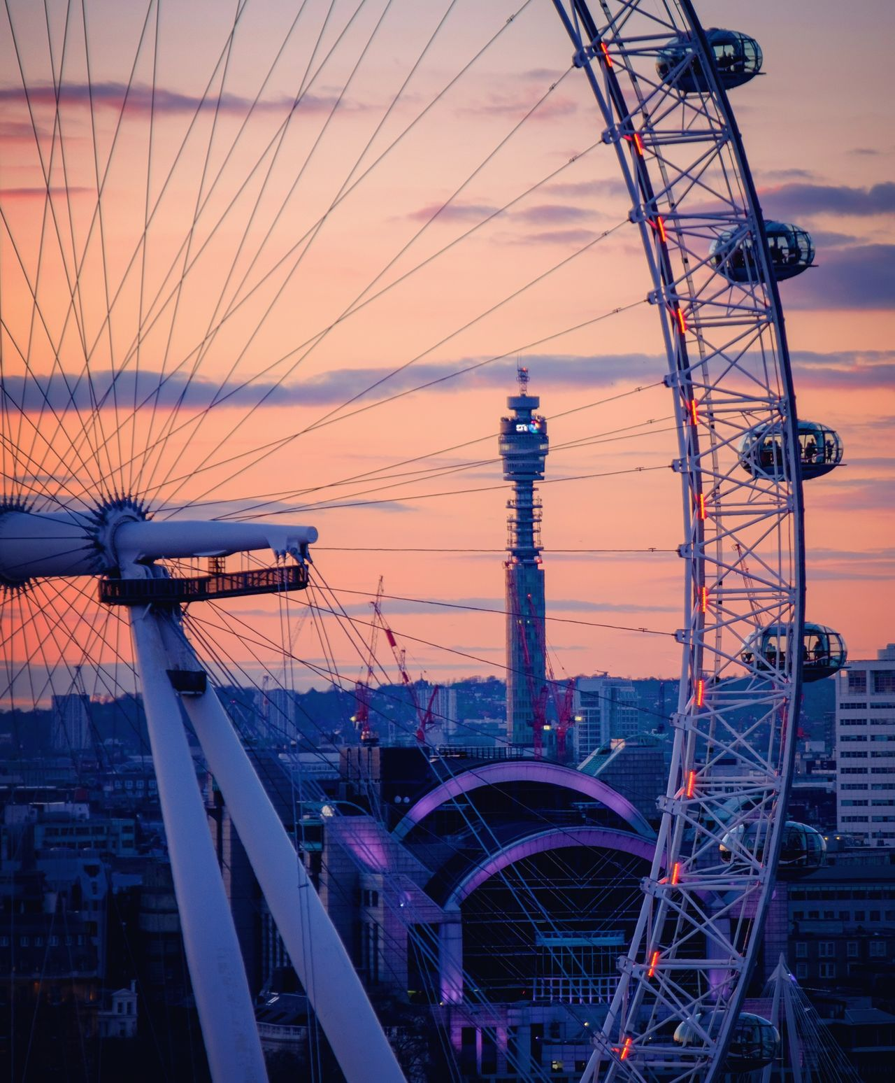 BT Tower London Built Structure Cable City City Life Cloud Cloud - Sky Development London Eye Modern Nature No People Orange Color Outdoors Power Supply Sky Sunset Tall - High Travel Destinations