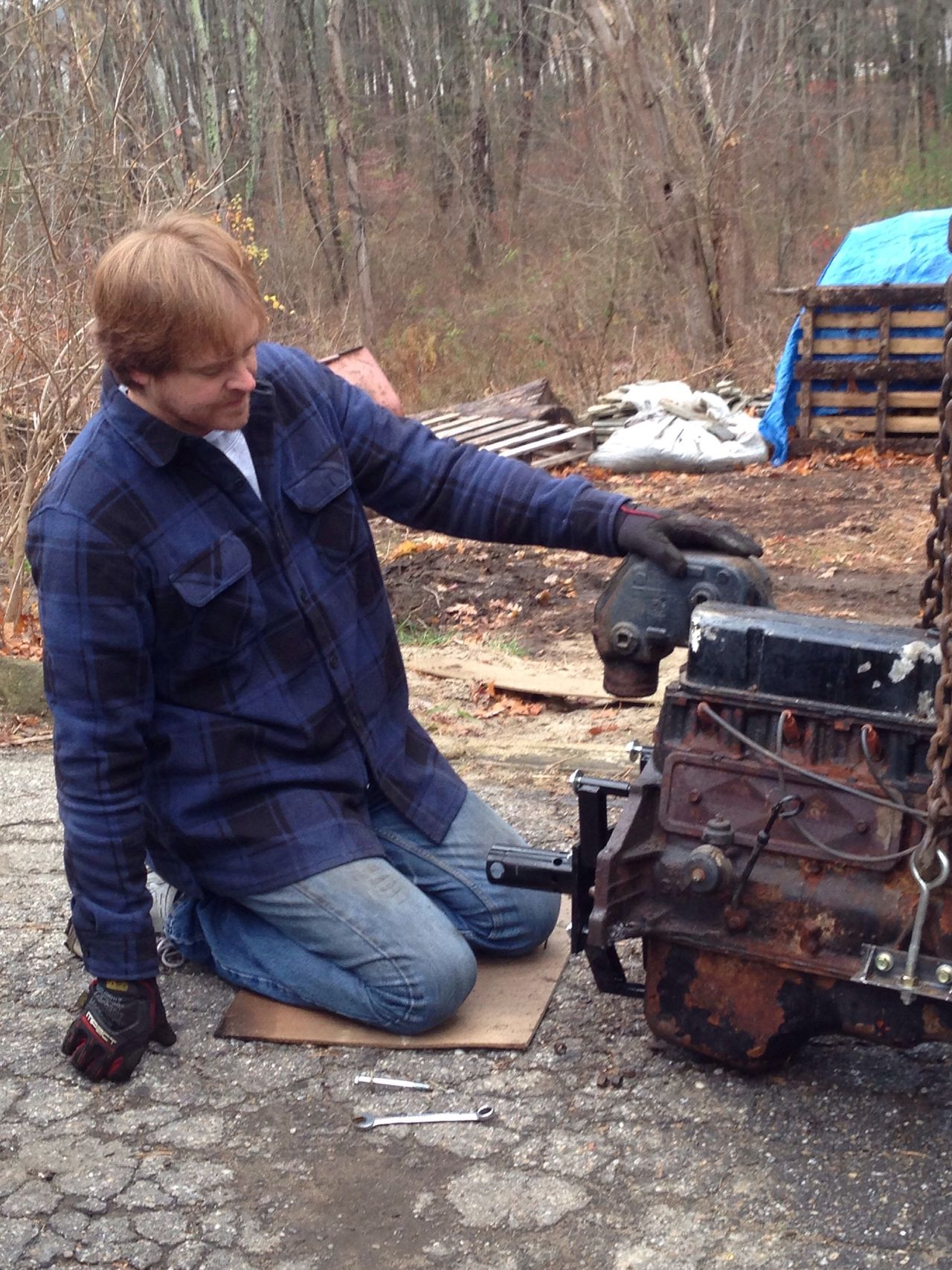 Real People One Person Mechanics Engine Repair Working Man My Man Ginger Hair Flannel Shirt