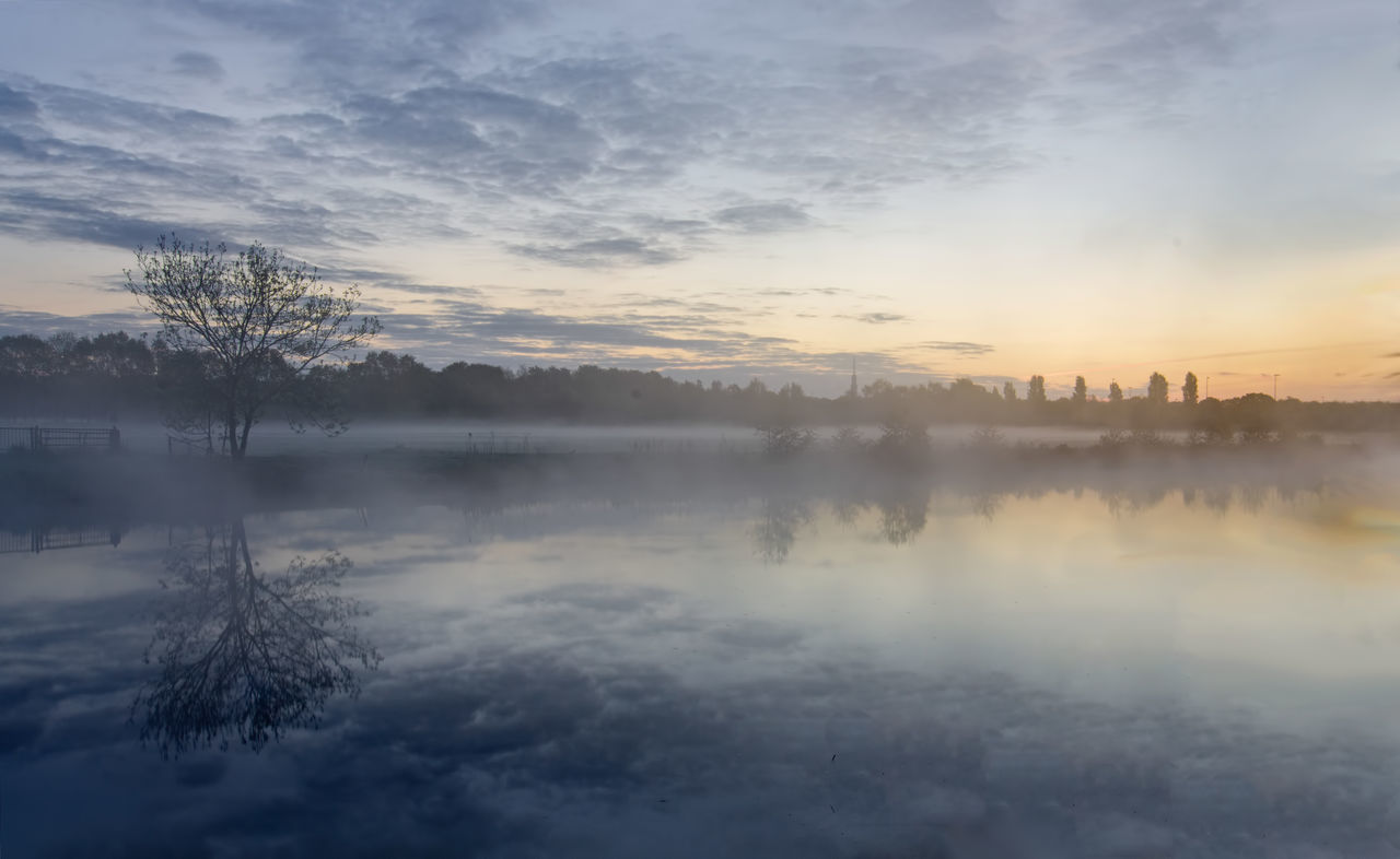 Beauty In Nature Cloud - Sky Fog Foggy Morning Hazy  Mirrored Reflection Mist Nature No People Outdoors Reflection Reflection Sky Sunrise Tranquil Scene Tree Water