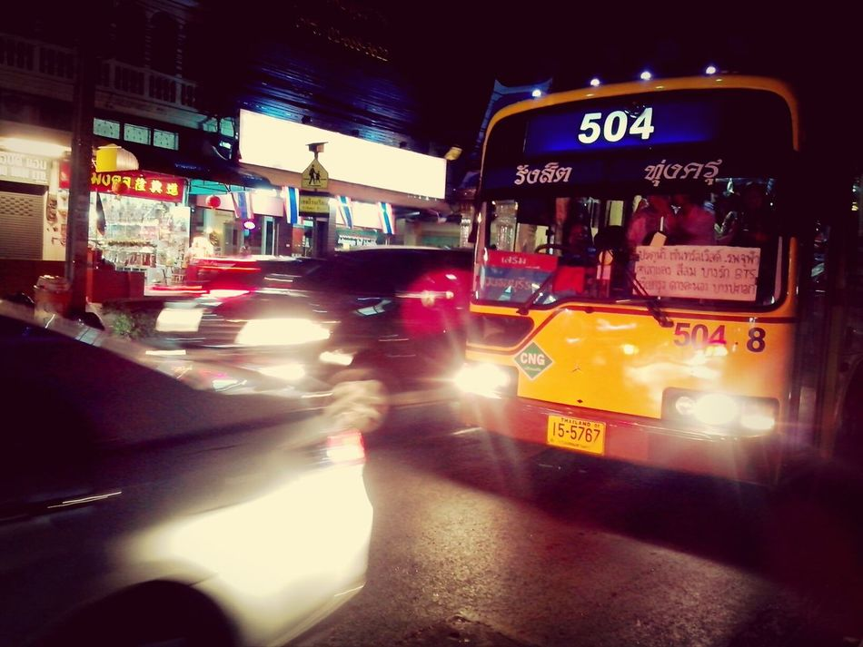 At bus stop~ Traffic Jam A Day In Bangkok waiting for Bus ,,too long