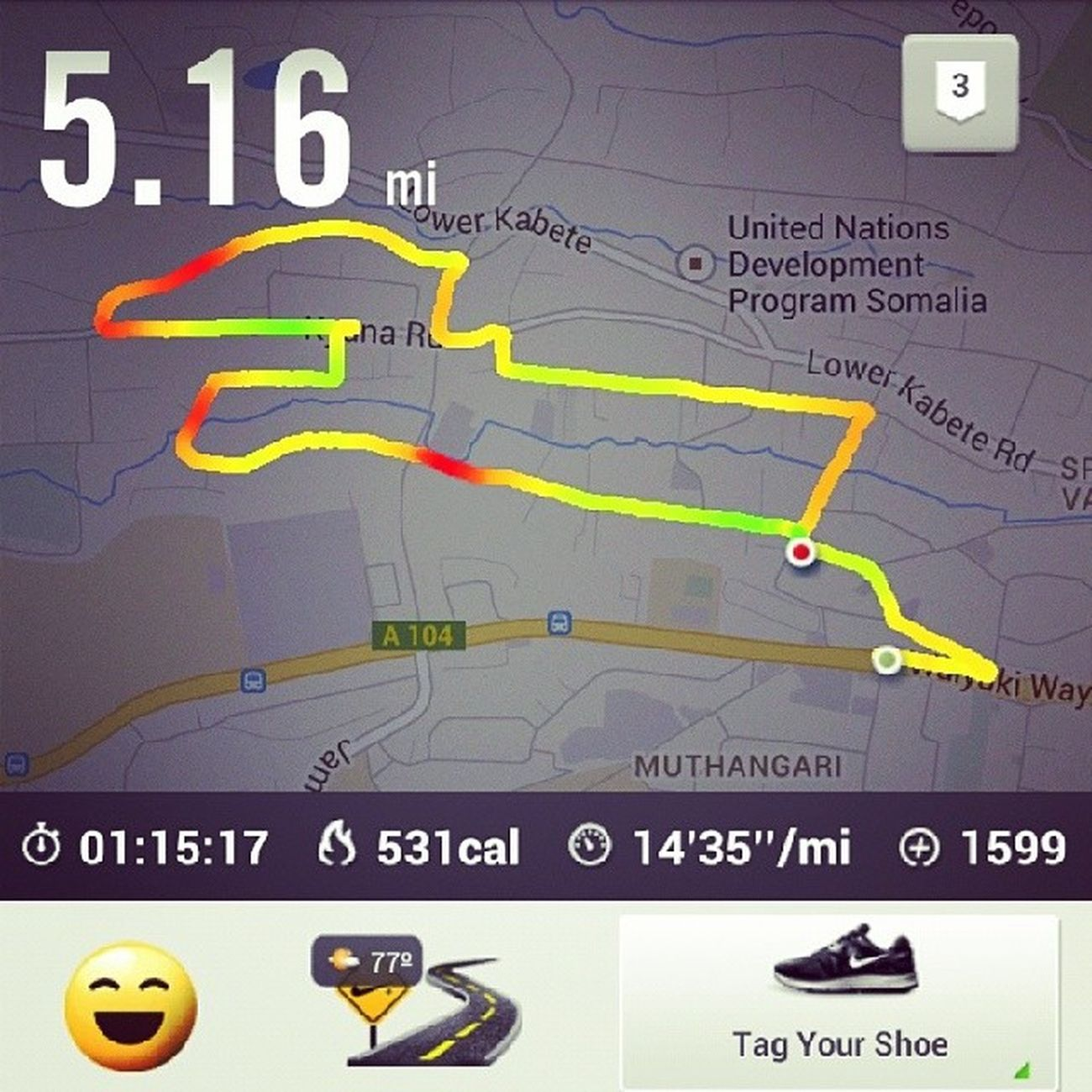 Yesterday's run. Change of route plan for tomorrow underway