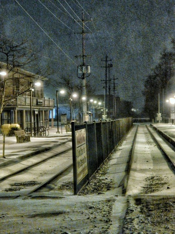 """Taken during the """"blizzard"""" that was forseen for NJ. Blizzard 2015 Train Station Snow New Jersey Night Photography"""