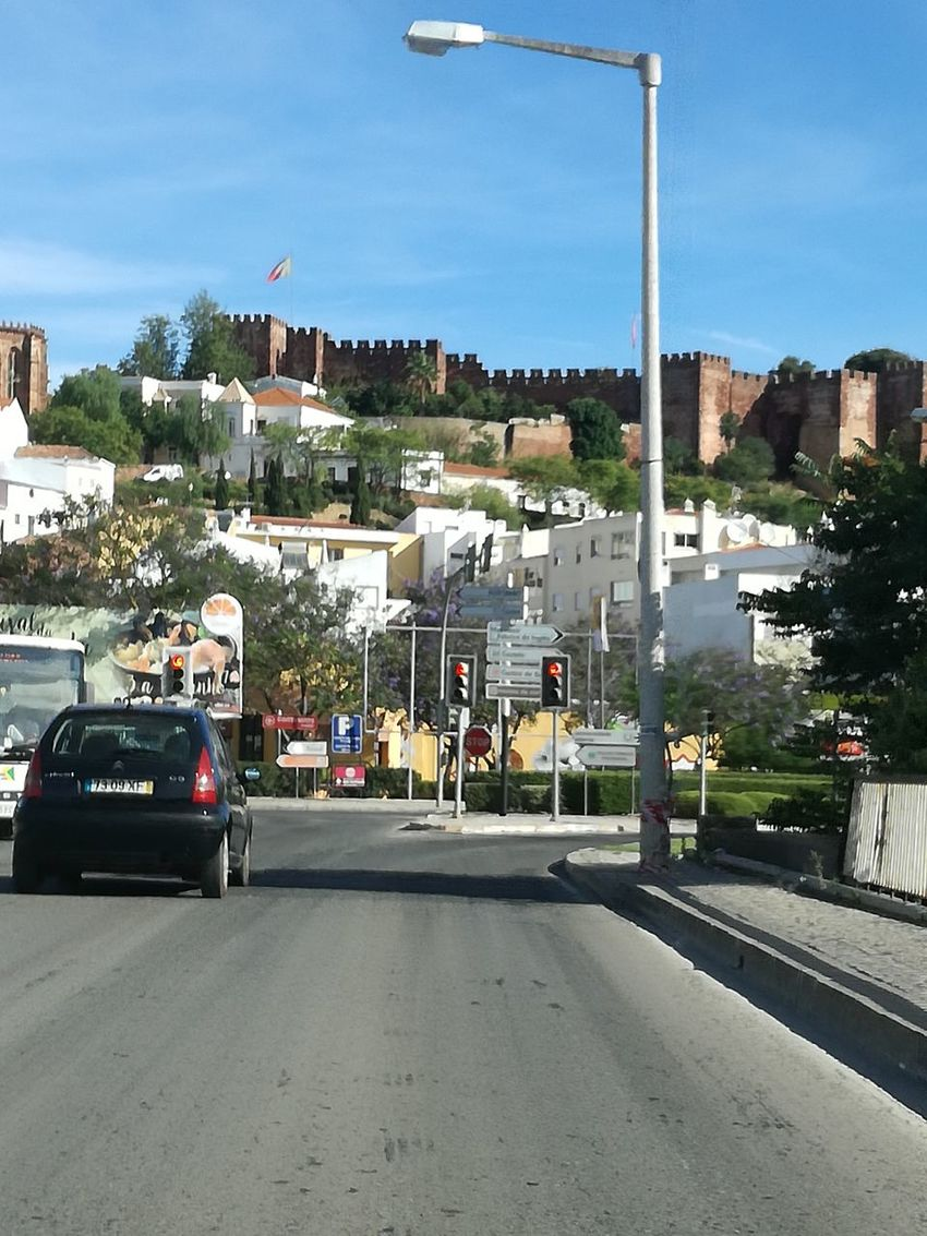 Castelo Silves City Street Car Street Road Transportation Outdoors Day Sky City Architecture Building Exterior No People Cityscape Politics And Government
