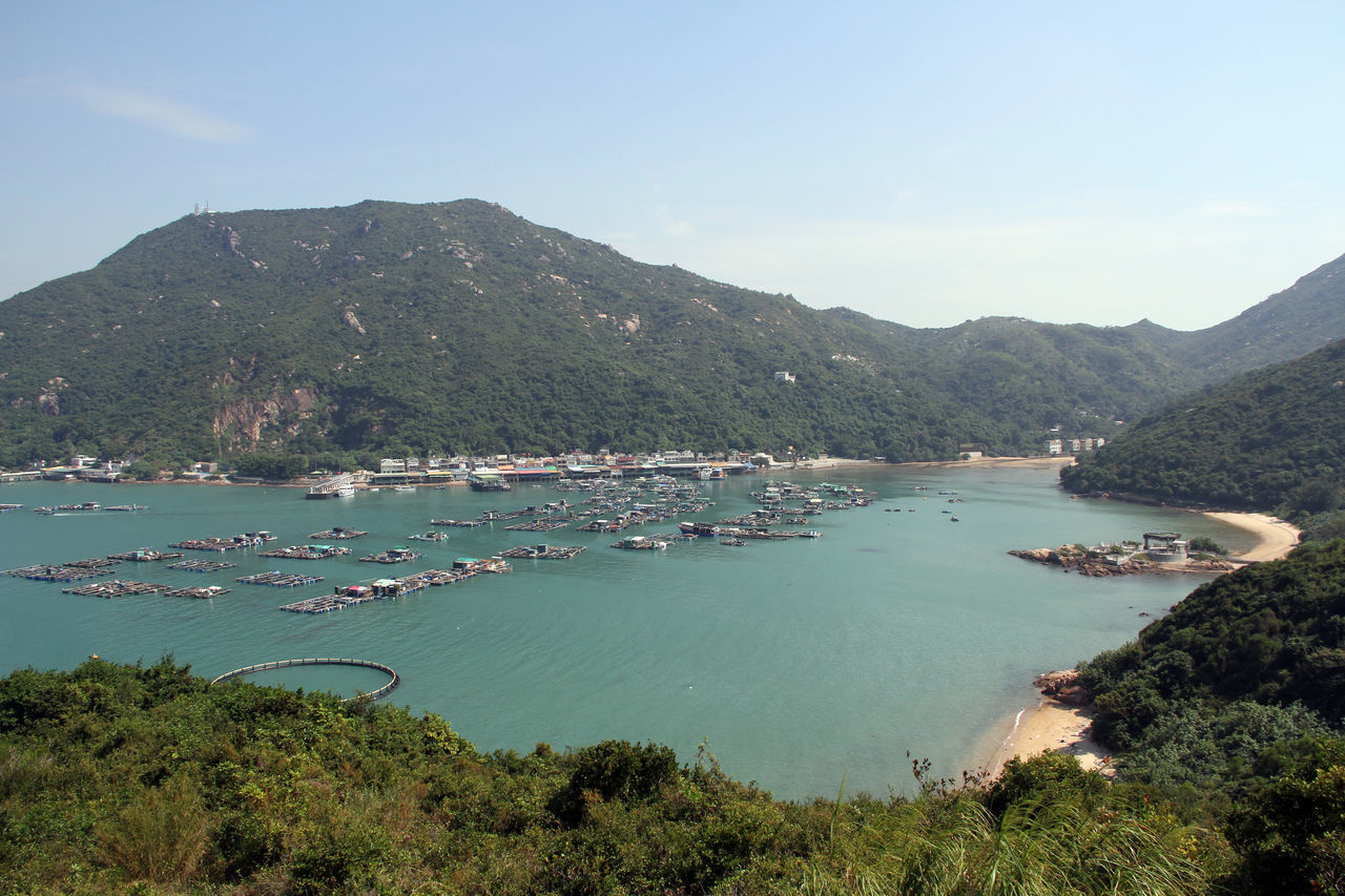 Bay Beach Beauty In Nature Boats Clear Sky Day Fishing Lamma Island Landscape Mountain Mountain Range Nature No People Outdoors Ropical Sand Scenics Sea Sky Top Perspective Tranquil Scene Tranquility Tree Village Water