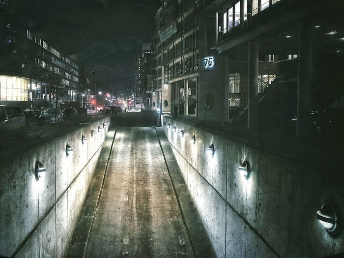 Foggy Nights Underground Car Park Traffic Lights Harbour City Hamburg Empty Streets Urban Scene Pale Light Night Lights Foggy Weather Architecture Built Structure Building Exterior Night City Illuminated Large Group Of People Outdoors