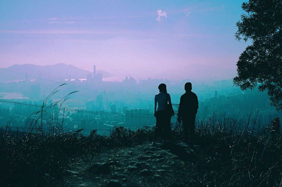 Two People Real People Sky Men Beauty In Nature Rear View Nature Leisure Activity Fog Standing Scenics Silhouette Togetherness Landscape Mountain Outdoors Women Tree Hazy  Adults Only HongKong Kowloon Peak Hiking City