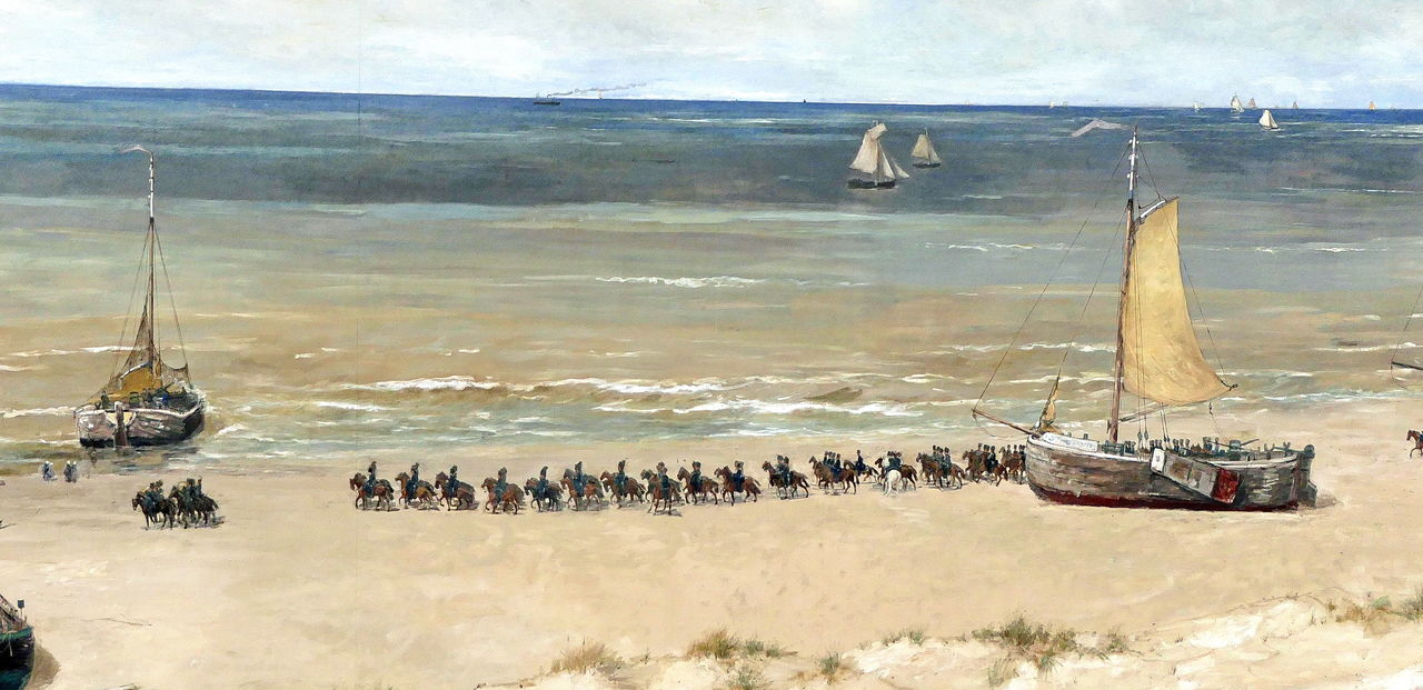 Scheveningen, fishermen's life in 1880 painted by Mesdag Beach 1880 Beach Day Fishermen Fishermen's Life Fishing Fleet Historic Historical Sights Horses Mesdag Museum Outdoors Painting Panoramic View Panorma Mesdag Scheveningen  Sea Tourism Tourist Attraction